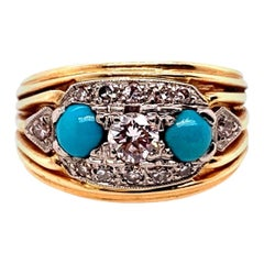 Retro Birks Gold Cocktail Ring 0.45 Carat Natural Diamond & Turquoise circa 1960