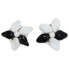 Retro Black and White Flower Milk Glass Crystal Clip on Earrings, Brass