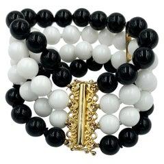 Retro Black Onyx White Onyx Bracelet 4-Strand Beads Mid-Century Modern