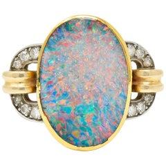 Retro Black Opal Diamond 14 Karat Gold Platinum Buckle Ring