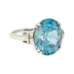 Retro Blue Zircon 14 Karat White Gold Gemstone Ring