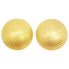 Retro Bluette French Textured Gold Button Shoe Clips