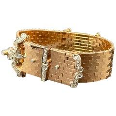 Retro Bold Yellow Gold Diamonds Art Deco Style 1940s European Bracelet