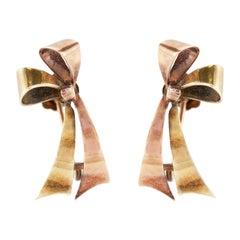 Retro Bow-Tie Dual Tone Gold Earrings