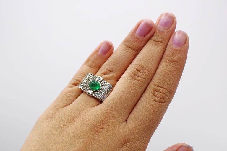 Women's or Men's Retro Cabochon Emerald Diamond Platinum Ring For Sale