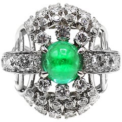 Retro Cabochon Emerald Diamond Platinum Ring