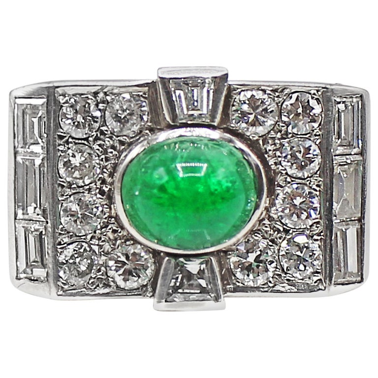 Retro Cabochon Emerald Diamond Platinum Ring For Sale