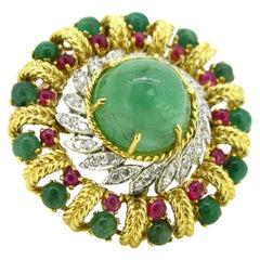 Retro Cabochon Emeralds Ruby Diamonds Brooch