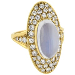 Retro Cabochon Moonstone and Pavé Set Diamond Navette Ring