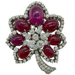 Retro Cabochon Ruby and Diamond Flower Brooch