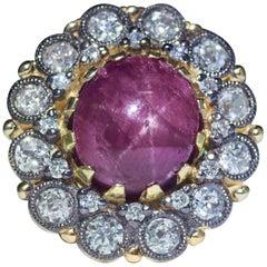 Retro Cabochon Star Ruby Diamond Halo Milgrain Bead 14 Karat Gold Dome Ring