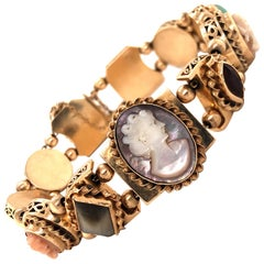 Retro Cameo and Gemstone 14 Karat Yellow Gold Slider Bracelet