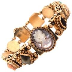 Retro Cameo and Gemstone 14 Karat Yellow Gold Slider Bracelet