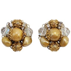 Retro Caramel Bead and Aurora Borealis Crystal Cluster Clip on Earrings