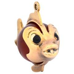 Retro Carnelian Enamel 14 Karat Gold Fish Charm