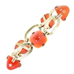 Retro Carnelian and Gold Bracelet