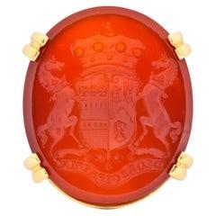 Retro Carnelian Intaglio 18 Karat Gold Deo Regi Patria Ring