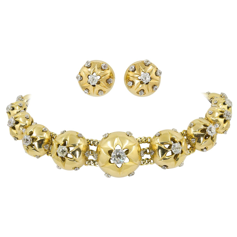 Cartier Retro Diamond Yellow Gold Necklace Suite