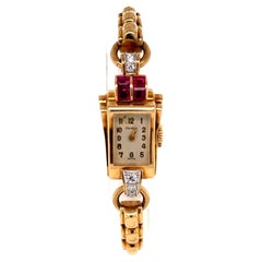 Retro Cartier Diamond Ruby Watch