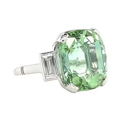 Retro Mint Green Tourmaline Diamond Cocktail Ring