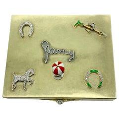 Retro Cartier Polo Theme Diamond Emerald Gold Box
