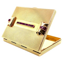 Retro Cartier Ruby Gold Minaudière Vanity Case