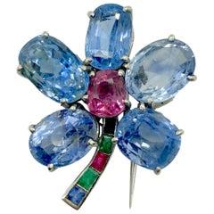 Retro Cartier Sapphire Flower Brooch
