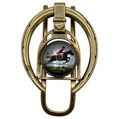 Retro Cartier Yellow Gold and Enamel Horseshoe Money Clip