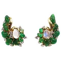 Retro Carved Emerald Diamond Moonstone Gold Ear Clips