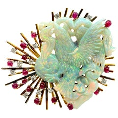 Retro Carved Opal, Ruby, Diamond Yellow Gold Brooch