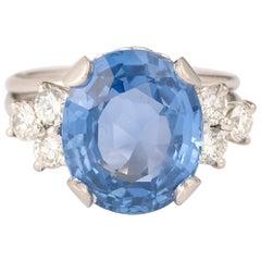 Retro Certified 8 Carats Non heated Ceylon Sapphire Diamonds Platinum 18 Carats
