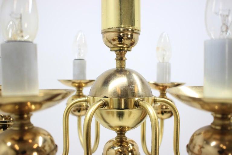 Brass Retro Chandelier by Kamenický Šenov, 1950s For Sale