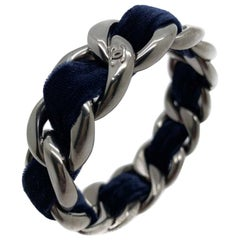 Retro Chanel Blue Velvet Gunmetal Logo Bangle 2013