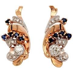 Retro circa 1950s Diamond and Sapphire Earrings