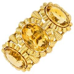 Retro Citrine 14 Karat Yellow Gold Floral Gemstone Cuff Style Bracelet