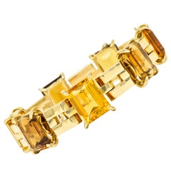Retro Citrine 18 Karat Yellow Gold Link Ombre Gemstone Bracelet