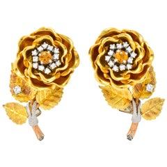 Retro Citrine Diamond Platinum 14 Karat Tri-Colored Gold Flower Ear-Clip Earring
