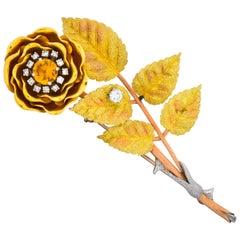 Retro Citrine Diamond Platinum 14 Karat Tri-Colored Gold Flower Pendant Brooch