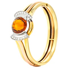 Retro Citrine Diamond Platinum-Topped 14 Karat Two-Tone Gold Bangle Bracelet