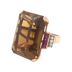Retro Citrine Ruby Diamond 14 Karat Rose Gold Cocktail Ring