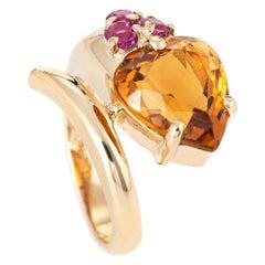 Retro Citrine Ruby Snake Ring Vintage 14 Karat Yellow Gold Estate Fine Jewelry