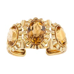 Retro Citrine Yellow Gold Cuff Bracelet