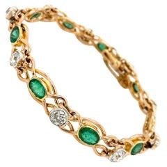 Retro Colombian Emerald Diamond Link Bracelet