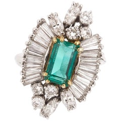 Retro Colombian Emerald Diamonds 18 Karat White Gold Yellow Gold Cocktail Ring
