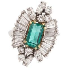 Retro Colombian Emerald Diamonds 18 Karat White Gold Yellow Gold Cocktail Ring