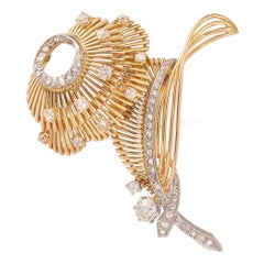 Retro Convertible to 2 Brooches Diamonds 18 Carats Yellow Gold Platinum Brooch
