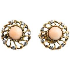 Retro Coral Diamond Gold Earrings