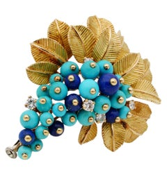 Retro Cornucopia Turquoise Lapis Diamond Brooch