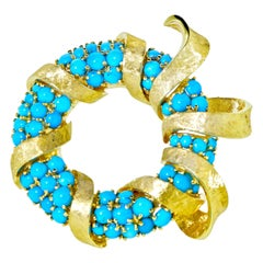 Retro Design Large Turquoise and Gold Brooch, circa 1950