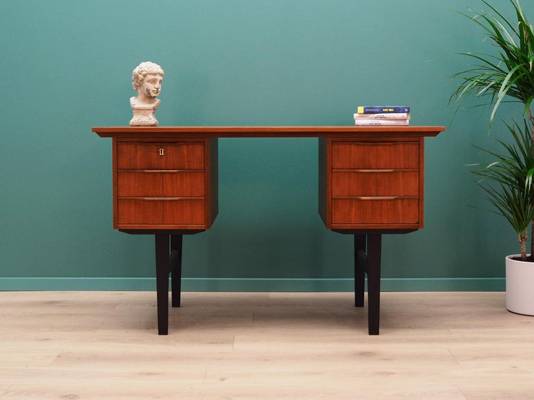 Classic desk from the 1960s-1970s. Danish design, Minimalist form. Furniture finished with teak veneer. Desk has six drawers, no key included. Preserved in good condition (minor bruises and scratches) - directly for use.